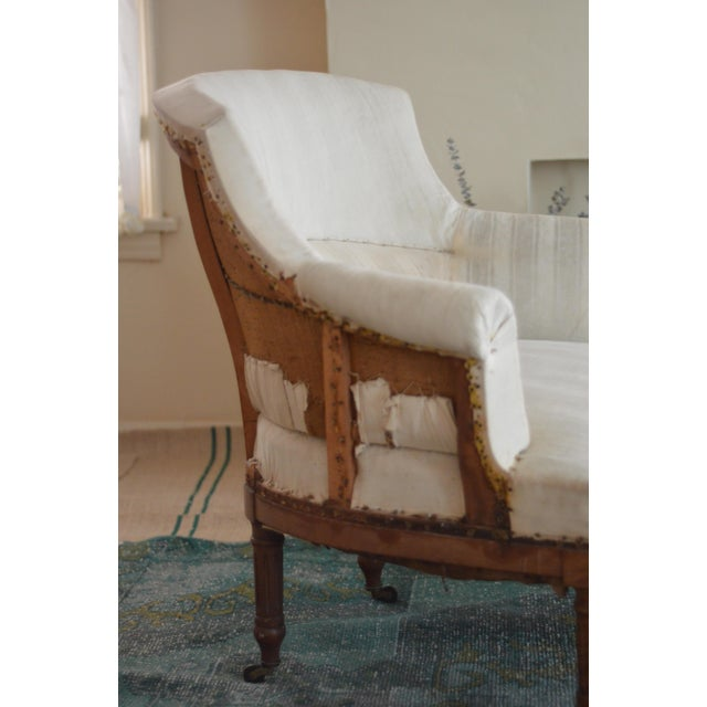 Antique French Napoleon Armchair and Ottoman - Image 3 of 9