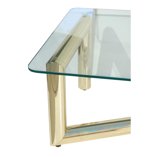 Pace Style Brass Tubular Coffee Table - Image 3 of 5