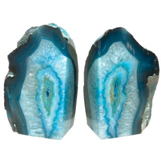 Ocean Blue Geode Bookends - A Pair