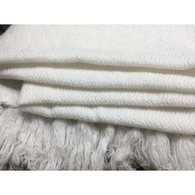 White Tassel Cashmere Blend Blanket - Image 10 of 11