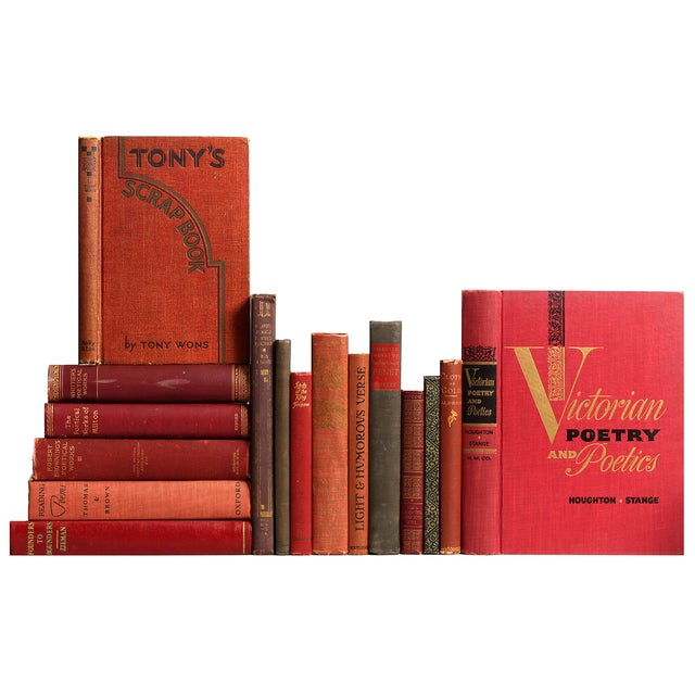 Image of Distressed Red & Brown Poetry Books - Set of 16