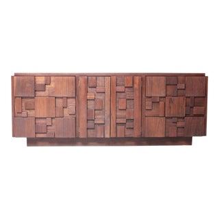 Lane Walnut Brutalist Dresser