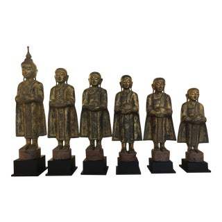 Buddah and Five Disciples Sculptures From Thailand - Set of 6