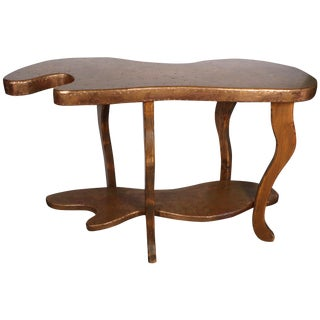 Copper And Pine Wood Console Table