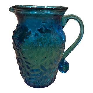 Blue Blown Glass Pitcher