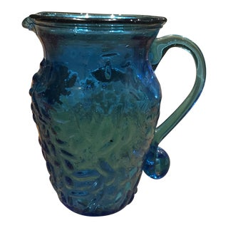 Blue Blown Glass Pitcher