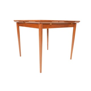 Refinished Square Teak Draw Leaf Dining Table