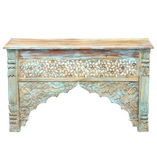 Turquoise Arched Carved Console