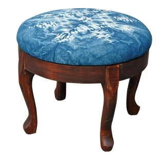 Wooden Footstool with Hand Dyed Indigo Shibori
