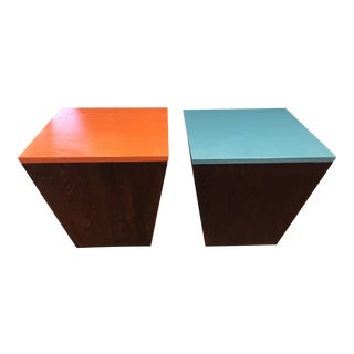 Mod Dark Wood Storage Tables - A Pair