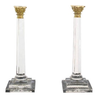 Pair of Tall Glass and Brass Candle Sticks