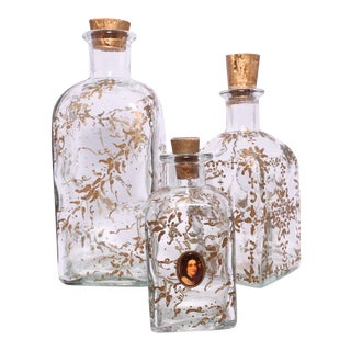 Vintage Hand-Painted Gold Leaf Vanity Bottles - Set of 3