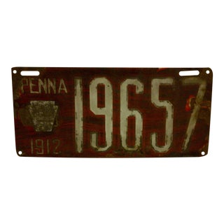 Vintage Pennsylvania Automobile License Plate, 1912