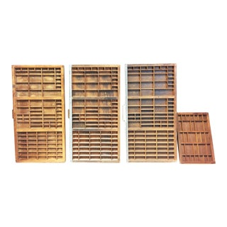 Vintage Industrial Wood Shadowbox Printer Trays - Lot of 4