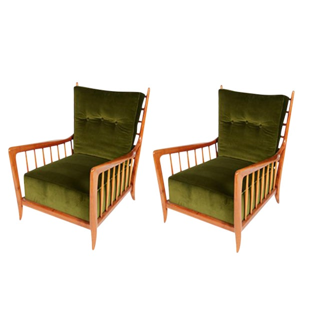 Image of Pair of Italian Lounge Chairs by Guglielmo Ulrich