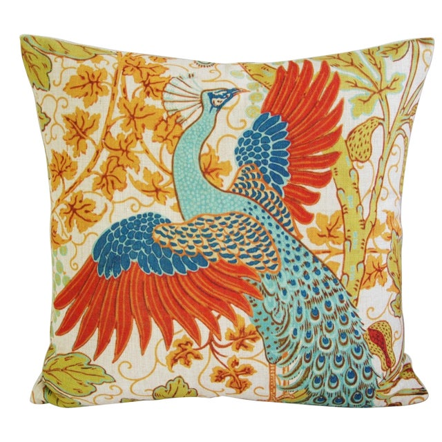 Colorful Peacock Linen Feather/Down Pillow - Image 1 of 5