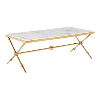 Blink Home Marble-Top Antique Gold Cocktail Table