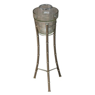 Lucite, Chrome & Glass Ice Bucket on Stand