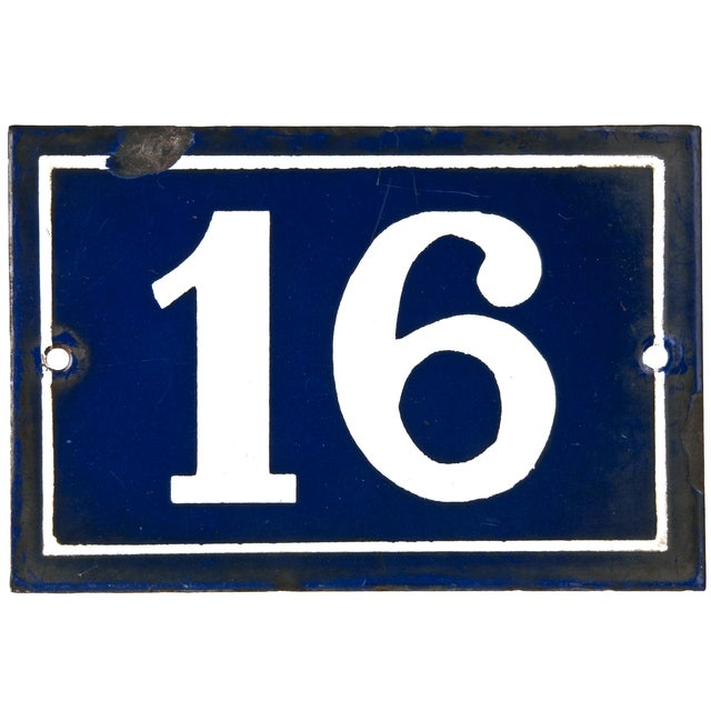 French porcelain enamel house number 16 chairish for Number 16 house