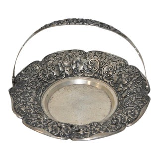 19th Century Handmade 800 Sterling Candy Dish w/ Handle