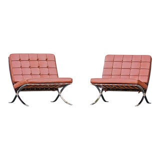 Mid-Century Modern Barcelona Style Chairs - A Pair