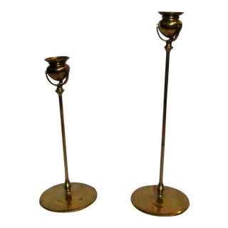 Tall Brass Candle Holders - A Pair