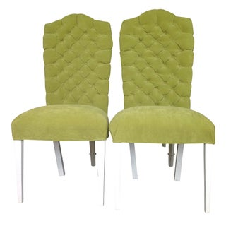 Vintage Tufted Parsons Chairs - A Pair