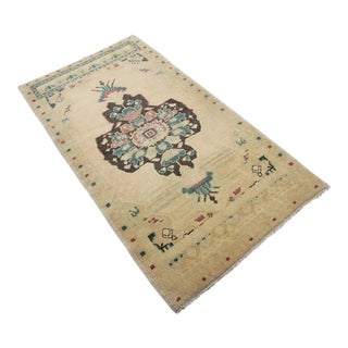 Antique Tribal Oushak Hand Knotted Turkish Rug - 1′10″ × 3′5″