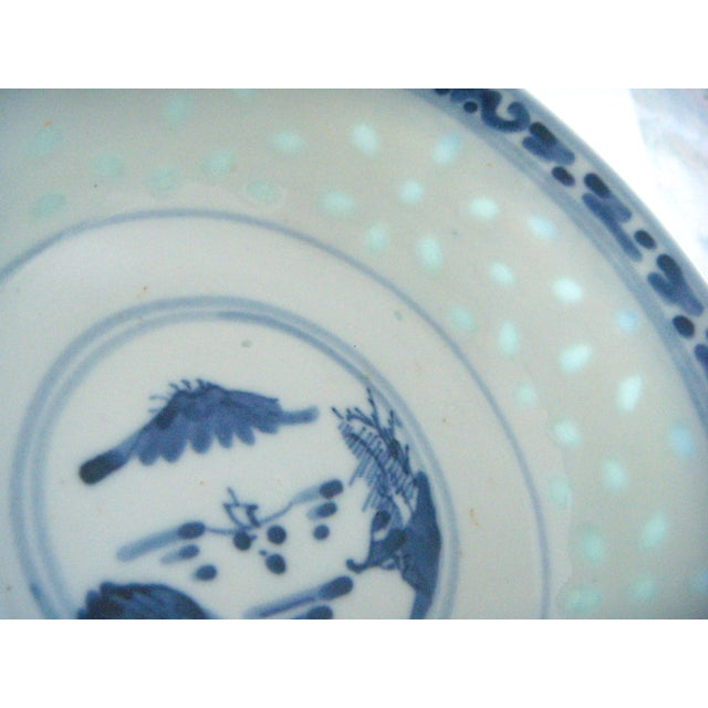 Image of Blue & White Chinese Rice Bowl With Stand