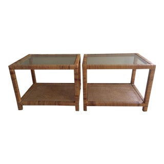 Rattan Wrapped Parsons End Tables - Pair