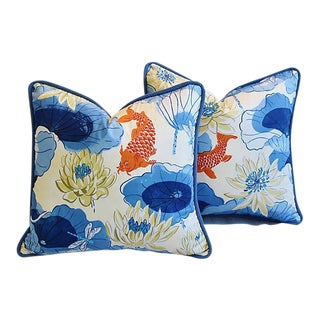 Designer Chinoiserie Koi Fish & Lotus Feather/Down Pillows - Pair