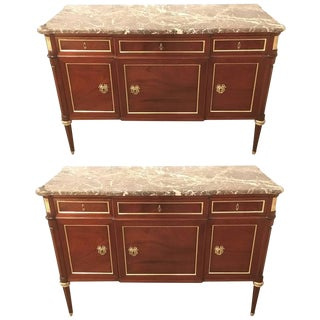 Maison Jansen Louis XVI Style Bronze-Mounted Commodes - A Pair