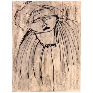 Modern Expressionist Portrait in Ink by Jean Margolin