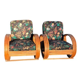Rattan Lounge Chairs in the style of Paul Frankl - A Pair