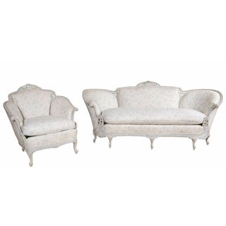 Louis XV Style Sofa & Wingback Chair - Set of 2