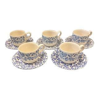 Vintage Eit Ltd. Ironstone Demitasse Cups & Matching Saucers With Blue Fruit Pattern - Set of Five