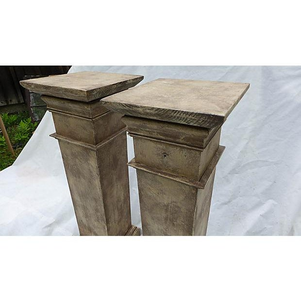 Image of Architectural Decor Finish Wood Pedestals - A Pair