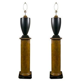 Lamps on Column Pedestals - A Pair