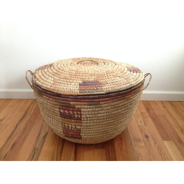 Large Hand Woven African Basket - Image 2 of 7