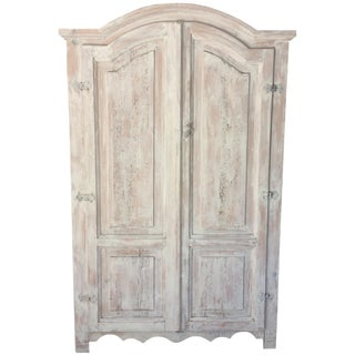Vintage Country-Style Distressed Pine Armoire