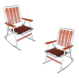 Mid-Century Aluminum and Wood Outdoor Folding Rocking Chair, Pair