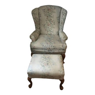 Floral Wingback Chair and Ottoman