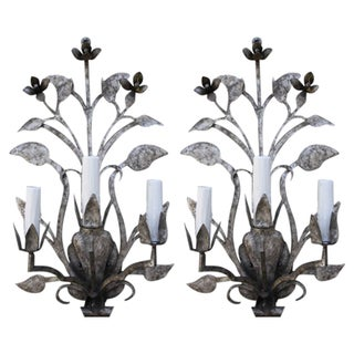 Three-Light Silvered Sconces - A Pair
