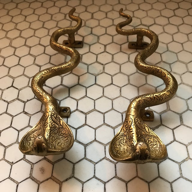 Gold Brass Cobra Door Handles- a Pair - Image 8 of 11