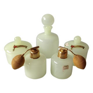 Lemon Custard Murano Glass Vanity Jars - Set of 5