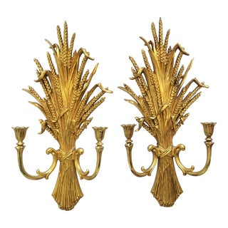 1971 Gold Flourish Sconces - A Pair