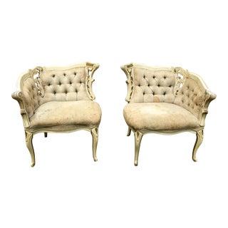 Vintage Hollywood Regency Carved Wood Chairs- A Pair