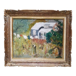 Vintage Countryside Living Painting in Distressed Giltwood Frame