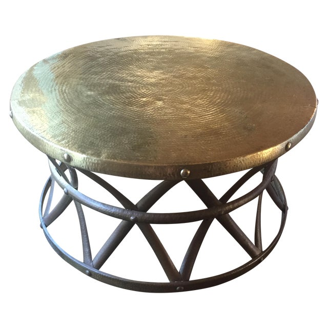 Mid-Century Hammered Brass Coffee Table - Image 1 of 8