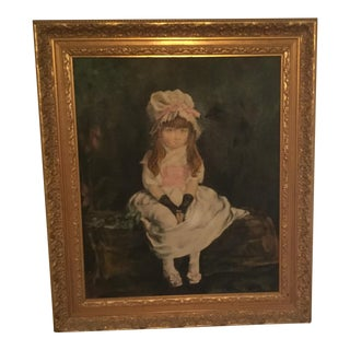 Antique Young Girl Oil Painting